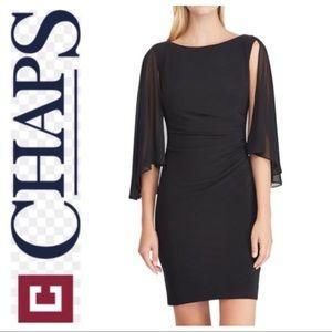 BRAND NEW CHAPS Sheer Cape Sheath BLACK DRESS L XL